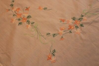Vintage 2 Tablecloths 64x84 and 64 Round + 10 Napkins Cream w Emb Flowers
