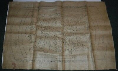 "Vintage Virginia Snow Studio Burlap Canvas 20"" x 32"" Rug Hooking Leaf Leaves"