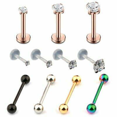 Unisex Stainless Steel Barbell Ear Cartilage Helix Tragus Stud Earring Bar Pierc