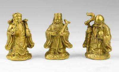 3PCS Chinese collectibles decoration copper Carved fu lu shou three statues
