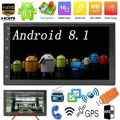"""Android 8.1 OS 7"""" 2DIN Car Stereo MP5 Player Mirror Link GPS Navi WiFi FM Radio"""