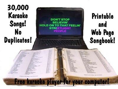 30,000 Karaoke Songs NO Duplicates free player and printable songbook hard drive