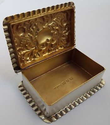 Beautiful Clean Decorative English Antique 1899 Solid Sterling Silver Table Box