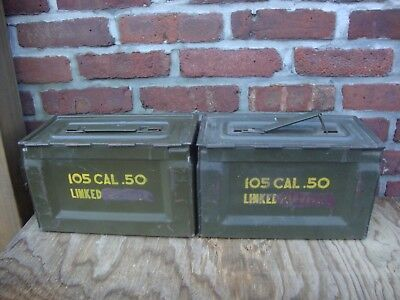 Lot Of 2 Ww2 50 Caliber Ammo Cans 50 Caliber Metal Ammo Cans & Ordnance Stamp