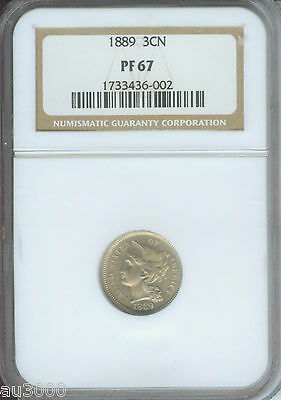 1889 3 CENT NICKEL 3CN NGC PF67 PROOF PR67 ONLY 2 Finer
