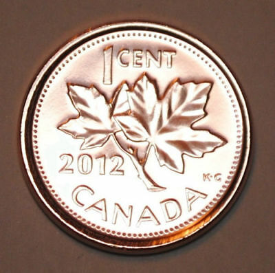 2012 Canada One-Cent Zinc (Non-magnetic) Uncirculated Coin from Mint Roll