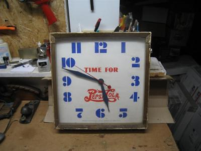 "Vintage  ""Time for Pepsi Cola"" Metal Frame Sessions Clock Company -  Working !"