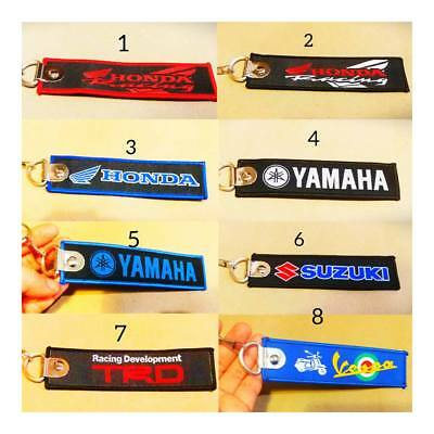 EMBROIDERED TAG  MOTORCYCLE BIKER RACING  KEYCHAIN KEY RING Collectables