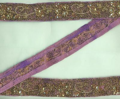 Vintage Hand Embroidery Metallic Golden Zari Sequin Beaded Silk Detail Lace Trim