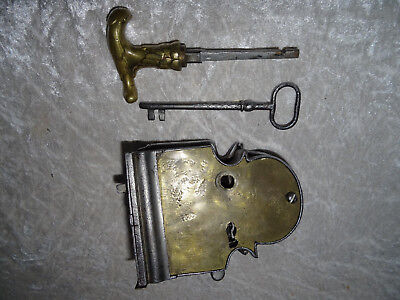 Antique Barock Türschloss Eisen Messing 18. Jhdt