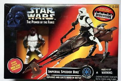 Red POTF Star Wars ~ IMPERIAL SPEEDER BIKE w/ BIKER SCOUT TROOPER Figure ~ 1995