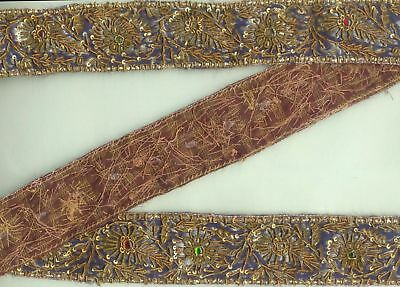 Antique Vintage Hand Embroidered Golden Zari Beaded Silk Trims Lace Craft Decor