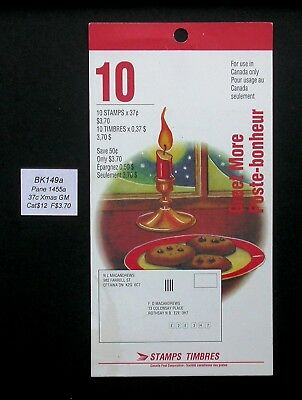 BK149a ~ Face $3.70 ~ 1992 Chritsmas ~ Pane 1455a ~ Canada Booklet Stamps