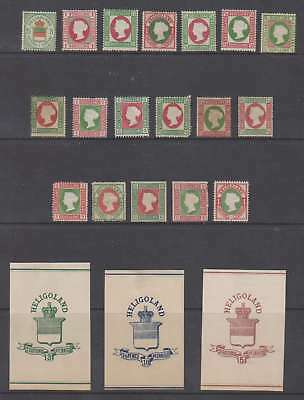 A3399: (21) 19th Heligoland Stamps + Labels; Unchecked!!