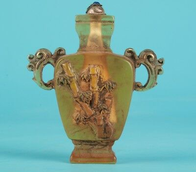 Precious Chinese Coloured Glaze Snuff Bottle Statue Hand-Carved Bamboo Gift