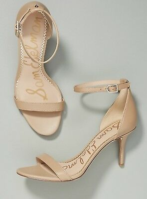 2a12a3a0a825d Anthropologie Sam Edelman Patti Nude Leather OpenToe Heel Ankle Strap  Sandal 7