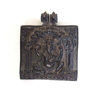 Fine antique Indian 19th century silver amulet / pendant - Ganesh