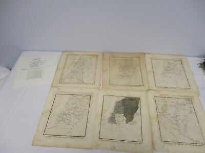 """6 Antique Amos Doolittle Engravings Maps Of Canaan & Israel 9 1/4"""" X 11"""""""