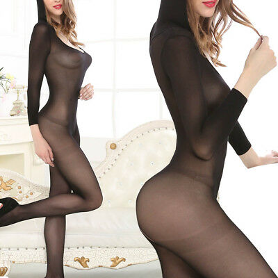 Sexy Silk Long Sleeved Hoodie Crotchless Jumpsuit Catsuit Lingerie Bodystocking
