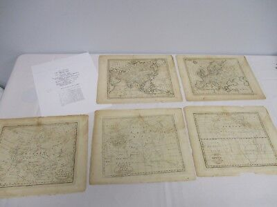 5 Antique Amos Doolittle Engraving Maps Of The World Africa Asia Europe