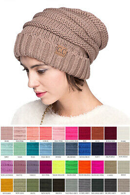 Jinscloset CC Winter Trendy Warm Oversized Stretchy Slouchy Skully Beanie Hat
