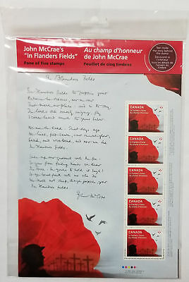 """Canada """"P"""" Stamps - John McCrae's """"In Flanders Fields"""" Pane of 5 - NEW"""