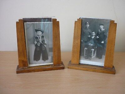 PAIR OF 1930s ART DECO STYLE WOOD & GLASS PHOTOGRAPH FRAMES