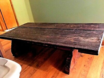 Vintage Reclaimed Wooden Table Made From Old Barn Door and Tree Trunks