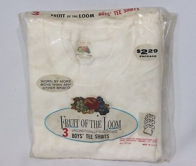Vintage Fruit of the Loom Tee Shirts T Shirt NOS Boys 12 3 pack