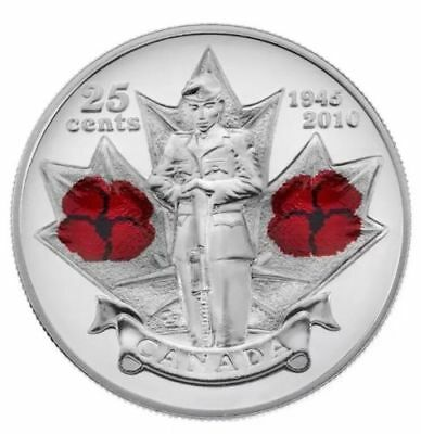 2010 Canada Remembrance Day Red Poppy 25-cents Coin - UNC From Mint Roll