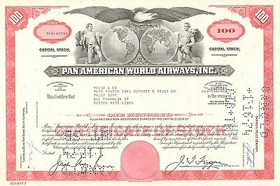 USA, Pan American World Airways, Inc., certificado de 100 acciones, 1969