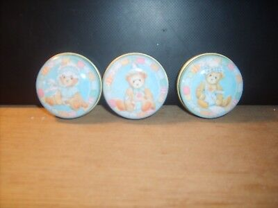 Adorable useful & RARE Cherished Teddies PILL BOXES fr the UK set of 3 EXCLUSIVE