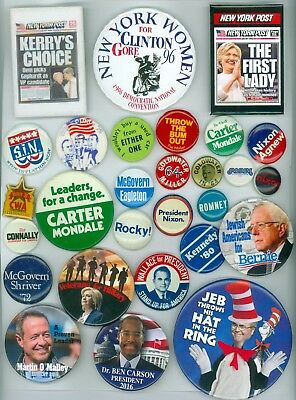 27 Vintage Presidential Political Campaign Pinback Buttons Kerry Clinton Nixon