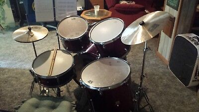 CB Drum Set, Red, Used, Good Condition - 7 piece w/ hardware + extras