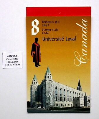 BK255b ~ Face $3.84 ~ Laval University ~ Pane 1942a ~ Canada Booklet Stamps