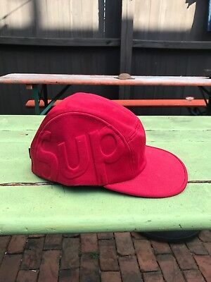7beecee7 NEW W/ TAGS Supreme Sup Camp Cap Red 5 Panel Box Logo Hat FW 2013 ...