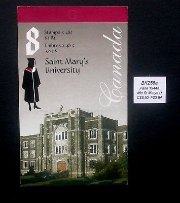 BK258a ~ Face $3.84 ~ St Mary's University ~ Pane 1944a ~ Canada Booklet Stamps