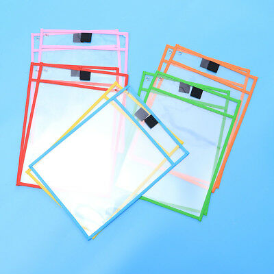 10pcs Dry Erase Pocket Sleeves Resuable Assorted Colors Stationery for Kids