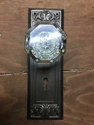 Antique 8 Point Glass Door Knob Fastened To Back Plate For A Coat Crafting Hook