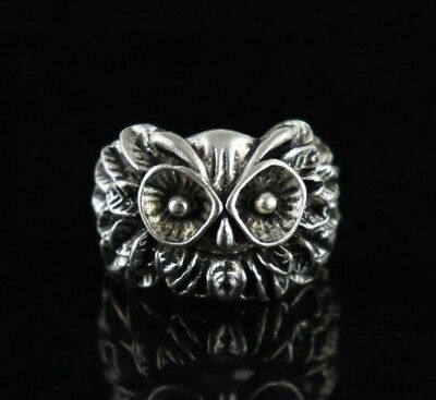China Old Tibet Silver Copper Hand Carve Owl Exquisite Noble Girl Ring Gift  RT