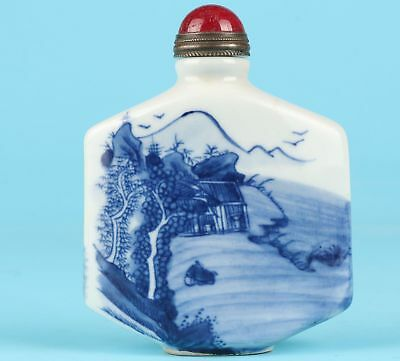 Rare Chinese Porcelain Snuff Bottle Hand-Painted Landscape Mascot Collec Gift