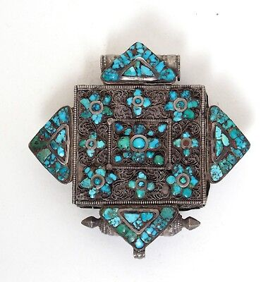 Fine 19th century antique Tibetan silver and turquoise gau