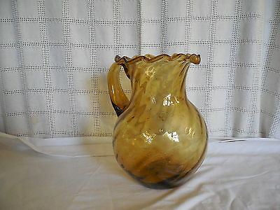 Vintage amber hand blown bubble glass pitcher