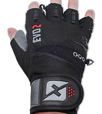 2018 Evo 2 Weightlifting Gloves with Integrated Wrist Wrap Support-Double...
