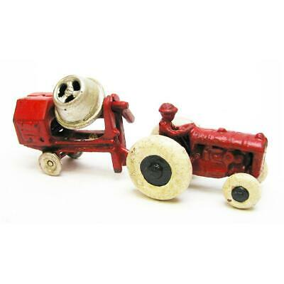 Design Toscano Tractor with Cement Mixer Replica Cast Iron Farm Toy Tractor
