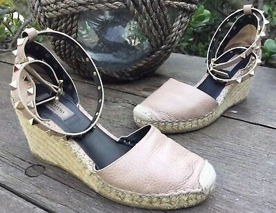 e4ead420abe $559 VALENTINO ROCKSTUD Espadrille / Wedges Natural Leather Women Size 38