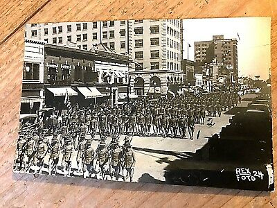 Pre Wwi Army Soldiers Marching In New York City Rppc Postcard - Rex Photo 24