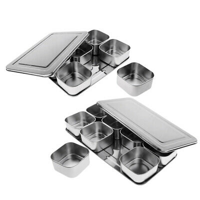 6/8 Grid Stainless Steel Seasoning Box Spice Storage Container Condiment Jar
