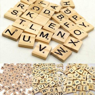 100 Pieces Maroon Crafts Scrapbooking Wooden Scrabble Tiles Replacement Game DB
