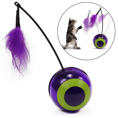 Cat Interactive Toy Feather Automatic Rotating Tumbler Pet Electric (purple)